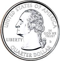obverse of 1/4 Dollar - Delaware - Washington Quarter (1999) coin with KM# 293 from United States. Inscription: UNITED STATES OF AMERICA LIBERTY D IN GOD WE TRUST QUARTER DOLLAR
