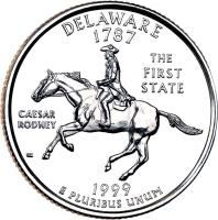 reverse of 1/4 Dollar - Delaware - Washington Quarter (1999) coin with KM# 293 from United States. Inscription: DELAWARE 1787 THE FIRST STATE CAESAR RODNEY 1999 E PLURIBUS UNUM WC