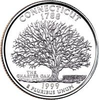 reverse of 1/4 Dollar - Connecticut - Washington Quarter (1999) coin with KM# 297 from United States. Inscription: CONNECTICUT 1788 THE CHARTER OAK 1999 E PLURIBUS UNUM TJV