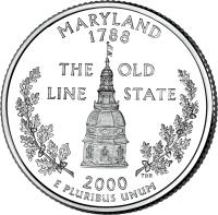 reverse of 1/4 Dollar - Maryland - Washington Quarter (2000) coin with KM# 306 from United States. Inscription: MARYLAND 1788 THE OLD LINE STATE 2000 E PLURIBUS UNUM TDR