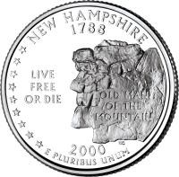 reverse of 1/4 Dollar - New Hampshire - Washington Quarter (2000) coin with KM# 308 from United States. Inscription: NEW HAMPSHIRE 1788 LIVE FREE OR DIE OLD MAN OF THE MOUNTAIN 2000 E PLURIBUS UNUM WC