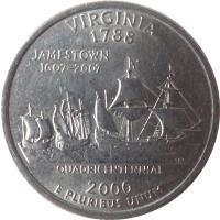 reverse of 1/4 Dollar - Virginia - Washington Quarter (2000) coin with KM# 309 from United States. Inscription: VIRGINIA 1788 JAMESTOWN 1607-2007 QUADRICENTENNIAL 2000 E PLURIBUS UNUM