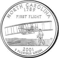 reverse of 1/4 Dollar - North Carolina - Washington Quarter (2001) coin with KM# 319 from United States. Inscription: NORTH CAROLINA 1789 FIRST FLIGHT 2001 E PLURIBUS UNUM JM