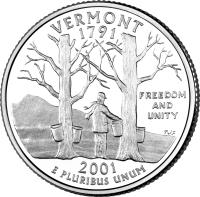 reverse of 1/4 Dollar - Vermont - Washington Quarter (2001) coin with KM# 321 from United States. Inscription: VERMONT 1791 FREEDOM AND UNITY 2001 E PLURIBUS UNUM TJF