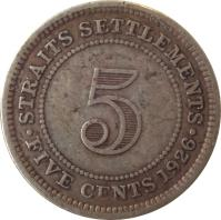 reverse of 5 Cents - George V (1926 - 1935) coin with KM# 36 from Straits Settlements. Inscription: · STRAITS SETTLEMENTS · 5 FIVE CENTS 1926