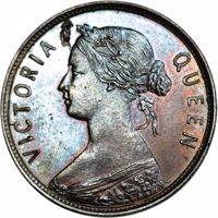 obverse of 1 Cent - Victoria (1864) coin with KM# Pn2 from Canada. Inscription: VICTORIA QUEEN