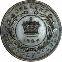 reverse of 1 Cent - Victoria (1864) coin with KM# Pn2 from Canada. Inscription: ONE CENT 1864 NEWFOUNDLAND