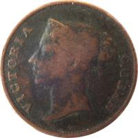 obverse of 1 Cent - Victoria (1862) coin with KM# 6 from Straits Settlements. Inscription: VICTORIA QUEEN