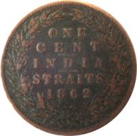 reverse of 1 Cent - Victoria (1862) coin with KM# 6 from Straits Settlements. Inscription: ONE CENT INDIA STRAITS 1862