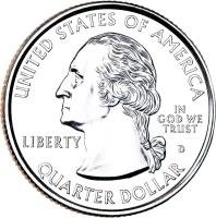 obverse of 1/4 Dollar - Michigan - Washington Quarter (2004) coin with KM# 355 from United States. Inscription: UNITED STATES OF AMERICA LIBERTY D IN GOD WE TRUST QUARTER DOLLAR