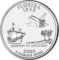 reverse of 1/4 Dollar - Florida - Washington Quarter (2004) coin with KM# 356 from United States. Inscription: FLORIDA 1845 GATEWAY TO DISCOVERY 2004 E PLURIBUS UNUM