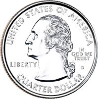 obverse of 1/4 Dollar - Iowa - Washington Quarter (2004) coin with KM# 358 from United States. Inscription: UNITED STATES OF AMERICA LIBERTY D IN GOD WE TRUST QUARTER DOLLAR
