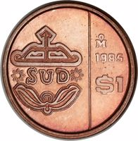 reverse of 1 Peso (1985) coin with KM# Pn233 from Mexico. Inscription: SUD 1985 Mo $1