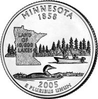 reverse of 1/4 Dollar - Minnesota - Washington Quarter (2005) coin with KM# 371 from United States. Inscription: MINNESOTA 1858 LAND OF 10,000 LAKES 2005 E PLURIBUS UNUM