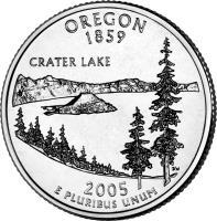 reverse of 1/4 Dollar - Oregon - Washington Quarter (2005) coin with KM# 372 from United States. Inscription: OREGON 1859 CRATER LAKE 2005 E PLURIBUS UNUM