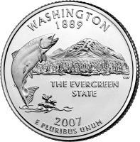 reverse of 1/4 Dollar - Washington - Washington Quarter (2007) coin with KM# 397 from United States. Inscription: WASHINGTON 1889 THE EVERGREEN STATE 2007 E PLURIBUS UNUM
