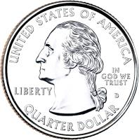 obverse of 1/4 Dollar - New Mexico - Washington Quarter (2008) coin with KM# 422 from United States. Inscription: UNITED STATES OF AMERICA LIBERTY D IN GOD WE TRUST QUARTER DOLLAR