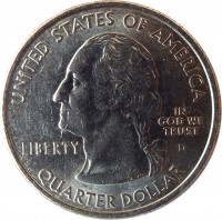 obverse of 1/4 Dollar - Alaska - Washington Quarter (2008) coin with KM# 424 from United States. Inscription: UNITED STATES OF AMERICA LIBERTY D IN GOD WE TRUST QUARTER DOLLAR