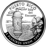 reverse of 1/4 Dollar - Puerto Rico - Washington Quarter (2009) coin with KM# 446 from United States. Inscription: PUERTO RICO Isla del Encanto E PLURIBUS UNUM 2009