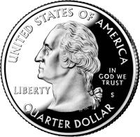 obverse of 1/4 Dollar - U.S. Virgin Islands - Washington Quarter (2009) coin with KM# 449 from United States. Inscription: UNITED STATES OF AMERICA IN GOD WE TRUST LIBERTY S QUARTER DOLLAR