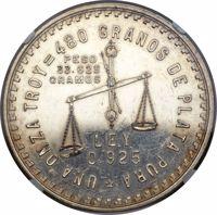 reverse of 1 Onza (1947) coin with KM# Pn196 from Mexico. Inscription: *UNZA ONZA TROY = 480 GRANOS DE PLATA PURA PESO 33.625 GRAMOS LEY 0.925