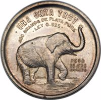 reverse of 1 Onza (1951) coin with KM# Pn198 from Mexico. Inscription: • UNA ONZA TROY 480 GRANOS DE PLATA PURA • LEY 0.925 • PESO 33.625 GRAMOS