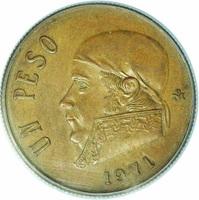 reverse of 1 Peso (1971) coin from Mexico. Inscription: UN PESO Mo 1971