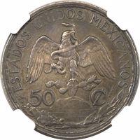 obverse of 50 Centavos (1907) coin with KM# Pn173 from Mexico. Inscription: ESTADOS UNIDOS MEXICANOS 50 ¢ ESSAI