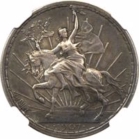 reverse of 50 Centavos (1907) coin with KM# Pn173 from Mexico. Inscription: CH. PIllEt ESSAI •1907•