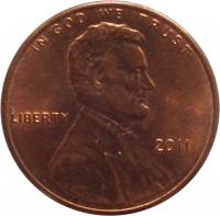obverse of 1 Cent - Lincoln Cent - Union Shield (2010 - 2016) coin with KM# 468 from United States. Inscription: IN GOD WE TRUST LIBERTY 2010