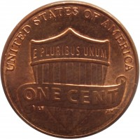 reverse of 1 Cent - Lincoln Cent - Union Shield (2010 - 2016) coin with KM# 468 from United States. Inscription: UNITED STATES OF AMERICA E PLURIBUS UNUM ONE CENT