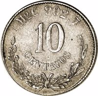 reverse of 10 Centavos (1868) coin with KM# Pn109 from Mexico. Inscription: MoC.902,7 10 CENTAVOS