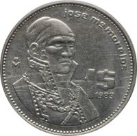 reverse of 1 Peso (1983) coin with KM# Pn228 from Mexico. Inscription: josé ma morelos 1$ 1983 Mo