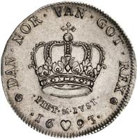 reverse of 1 Krone - Christian V (1693 - 1699) coin with KM# 428 from Denmark. Inscription: * DAN · NOR · VAN · GOT · REX * · PIET ·&· IVST · · [ye] ♥ [ar] ·
