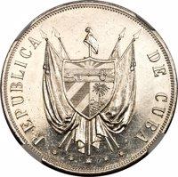 obverse of 1 Peso (1870) coin with KM# Pn5 from Cuba. Inscription: REPUBLICA DE CUBA * * * * *