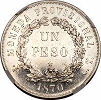 reverse of 1 Peso (1870) coin with KM# Pn5 from Cuba. Inscription: MONEDA PROVISIONAL UN PESO • P • C. T. 1870