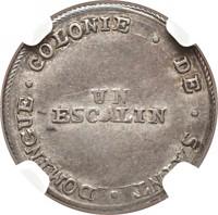 reverse of 1 Escalin (1802) coin with KM# 22 from Haiti. Inscription: COLONIES DE SAINT DOMINGUE UN ESCALIN
