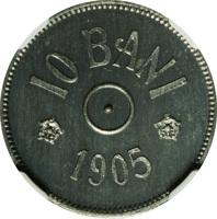 reverse of 10 Bani - Carol I (1905) coin with KM# Pn82 from Romania. Inscription: 10 BANI 1905