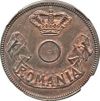 obverse of 20 Bani - Carol I (1905) coin with KM# Pn97 from Romania. Inscription: ROMANIA