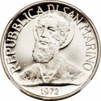 obverse of 1 Lira (1972) coin from San Marino. Inscription: REPUBBLICA DI SAN MARINO MONASSI 1972