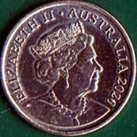 obverse of 5 Cents - Elizabeth II - 6'th Portrait (2019 - 2021) coin from Australia. Inscription: ELIZABETH II AUSTRALIA 2020 JC