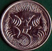 reverse of 5 Cents - Elizabeth II - 6'th Portrait (2019 - 2021) coin from Australia. Inscription: 5
