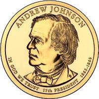 obverse of 1 Dollar - Andrew Johnson (2011) coin with KM# 499 from United States. Inscription: ANDREW JOHNSON IN GOD WE TRUST 17TH PRESIDENT 1865-1869