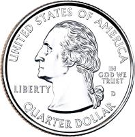 obverse of 1/4 Dollar - Gettysburg National Military Park - Washington Quarter (2011) coin with KM# 494 from United States. Inscription: UNITED STATES OF AMERICA IN GOD WE TRUST LIBERTY QUARTER DOLLAR D