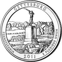 reverse of 1/4 Dollar - Gettysburg National Military Park - Washington Quarter (2011) coin with KM# 494 from United States. Inscription: GETTYSBURG PENNSYLVANIA2011E PLURIBUS UNUM