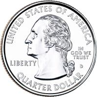 obverse of 1/4 Dollar - Glacier National Park, Montana - Washington Quarter (2011) coin with KM# 495 from United States. Inscription: UNITED STATE OF AMERICA IN GOD WE TRUST LIBERTY QUARTER DOLLAR D