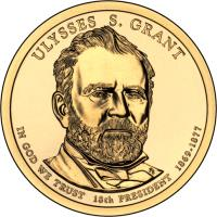 obverse of 1 Dollar - Ulysses S. Grant (2011) coin with KM# 500 from United States. Inscription: ULYSSES S. GRANT IN GOD WE TRUST 18th PRESIDENT 1869-1877