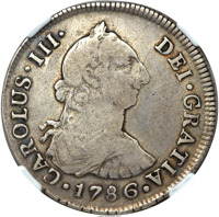 obverse of 4 Reales - Carlos III (1775 - 1789) coin with KM# 34 from Chile. Inscription: CAROLUS III DEI GRATIA 1786