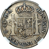 reverse of 4 Reales - Carlos III (1775 - 1789) coin with KM# 34 from Chile. Inscription: HISPAN ET IND REX So 4R DA