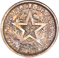 obverse of 20 Centavos (1898) coin with KM# Pn9 from Cuba. Inscription: REPUBLICA DE CUBA. RC 900 FINE * 97 Grs LA PLATA *